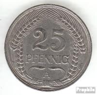 Deutsches Reich Jägernr: 18 1910 A Sehr Schön Nickel Sehr Schön 1910 25 Pfennig Reichsadler Im Jugendsti - [ 2] 1871-1918: Deutsches Kaiserreich