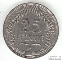 Deutsches Reich Jägernr: 18 1910 F Sehr Schön Nickel Sehr Schön 1910 25 Pfennig Reichsadler Im Jugendsti - [ 2] 1871-1918: Deutsches Kaiserreich