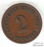 Deutsches Reich Jägernr: 2 1875 J Sehr Schön Bronze Sehr Schön 1875 2 Pfennig Kleiner Reichsadler - [ 2] 1871-1918: Deutsches Kaiserreich