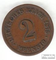 Deutsches Reich Jägernr: 2 1876 A Vorzüglich Bronze Vorzüglich 1876 2 Pfennig Kleiner Reichsadler - [ 2] 1871-1918: Deutsches Kaiserreich