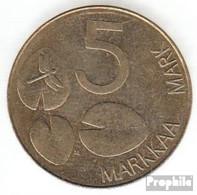 Finnland KM-Nr. : 73 1993 Sehr Schön Aluminium-Bronze Sehr Schön 1993 5 Markkaa Robbe - Finnland