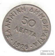 Griechenland KM-Nr. : 68 1926 Sehr Schön Kupfer-Nickel Sehr Schön 1926 50 Lepta Athene - Griechenland