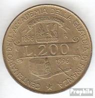 Italien KM-Nr. : 184 1996 Stgl./unzirkuliert Aluminium-Bronze Stgl./unzirkuliert 1996 200 Lire Akademie - 1946-…: Republik