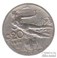 Italien KM-Nr. : 44 1908 Vorzüglich Nickel Vorzüglich 1908 20 Centesimi Kopf Mit Weizenähre - 1900-1946 : Victor Emmanuel III & Umberto II