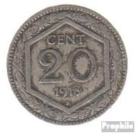 Italien KM-Nr. : 58 1919 Vorzüglich Kupfer-Nickel Vorzüglich 1919 20 Centesimi Wappen, Überprägung De - 1861-1946: Königreich