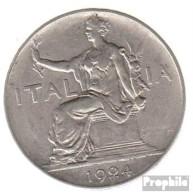 Italien KM-Nr. : 62 1924 Vorzüglich Nickel Vorzüglich 1924 1 Lira Sitzende Frau - 1861-1946: Königreich