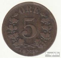 Norwegen KM-Nr. : 349 1876 Sehr Schön Bronze Sehr Schön 1876 5 Öre Gekröntes Wappen - Norwegen