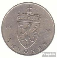 Norwegen KM-Nr. : 420 1974 Sehr Schön Kupfer-Nickel Sehr Schön 1974 5 Kroner Olav V. - Norwegen