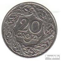 Polen KM-Nr. : 12 1923 Vorzüglich Nickel Vorzüglich 1923 20 Groszy Gekrönter Adler - Pologne