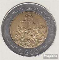 San Marino KM-Nr. : 226 1988 Stgl./unzirkuliert Bimetall Stgl./unzirkuliert 1988 500 Lire Hügel - San Marino