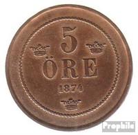 Schweden KM-Nr. : 736 1874 Sehr Schön Bronze Sehr Schön 1874 5 Öre Gekröntes Monogramm - Schweden