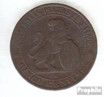 Spanien KM-Nr. : 662 1870 Sehr Schön Kupfer Sehr Schön 1870 5 Centimos Löwe Mit Wappen - [1] …-1931: Königreich