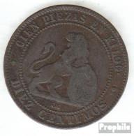 Spanien KM-Nr. : 663 1870 Sehr Schön Kupfer Sehr Schön 1870 10 Centimos Löwe Mit Wappen - [1] …-1931: Königreich