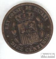 Spanien KM-Nr. : 675 1879 Sehr Schön Bronze Sehr Schön 1879 10 Centimos Alfonso XII. - [1] …-1931: Königreich
