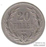 Ungarn KM-Nr. : 483 1894 Sehr Schön Nickel Sehr Schön 1894 20 Filler Krone - Ungarn