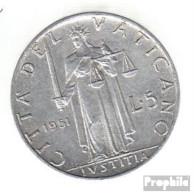 Vatikanstadt KM-Nr. : 51 1951 Sehr Schön Aluminium Sehr Schön 1951 5 Lire Justicia - Vatikan
