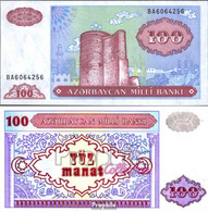 Aserbaidschan Pick-Nr: 18b Bankfrisch 1993 100 Manats - Aserbaidschan
