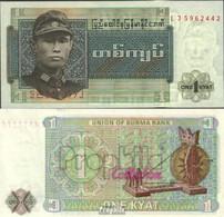 Birma Pick-Nr: 56 Bankfrisch 1972 1 Kyat - Myanmar
