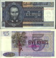 Birma Pick-Nr: 57 Bankfrisch 1973 5 Kyats - Myanmar