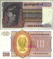 Birma Pick-Nr: 58 Bankfrisch 1973 10 Kyats - Myanmar