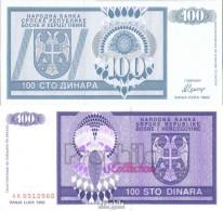Bosnien-Herzegowina Pick-Nr: 135a Bankfrisch 1992 100 Dinara - Bosnien-Herzegowina