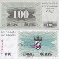 Bosnien-Herzegowina Pick-Nr: 13a Bankfrisch 1992 100 Dinara - Bosnien-Herzegowina