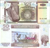 Burundi Pick-Nr: 36b Bankfrisch 1999 50 Francs Paddelboot - Burundi