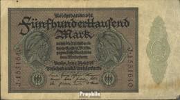 Deutsches Reich Pick-Nr: 87c, 7stellige KN Nur Auf Der Vorderseite Zweimal Gebraucht (III) 1923 500000 Mark - [ 3] 1918-1933 : Repubblica  Di Weimar