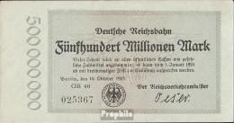 Berlin Pick-Nr: S1019 Inflationsgeld Der Deutschen Reichsbahn Berlin Gebraucht (III) 1923 500 Millionen Mark - [ 3] 1918-1933 : Weimar Republic