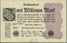 Deutsches Reich RosbgNr: 103e, Wasserzeichen Wellen Bankfrisch 1923 2 Millionen Mark - 2 Millionen Mark
