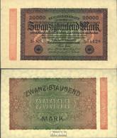Deutsches Reich RosbgNr: 84b, Wasserzeichen Ringe 6stellige Kontrollnummer Bankfrisch 1923 20.000 Mark - 20000 Mark