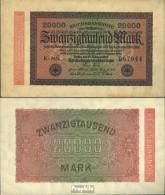 Deutsches Reich RosbgNr: 84e, Wasserzeichen Hakensterne 6stellige Kontrollnummer Bankfrisch 1923 20.000 Mark - 20000 Mark