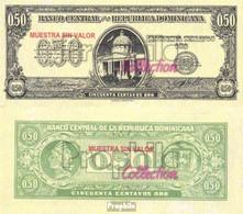 Dominikanische Republik Pick-Nr: 90s Bankfrisch 1961 50 Centavos (Muestra Sin Valor - Dominicaine