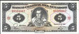 Ecuador Pick-Nr: 108b (1982) Bankfrisch 1982 5 Sucres - Equateur