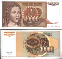 Jugoslawien Pick-Nr: 116a Bankfrisch 1992 10.000 Dinara - Jugoslawien