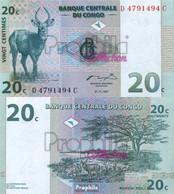 Kongo (Kinshasa) Pick-Nr: 83a Bankfrisch 1997 20 Centimes Springbock - Unclassified