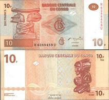 Kongo (Kinshasa) Pick-Nr: 93A Bankfrisch 2003 10 Francs - Congo
