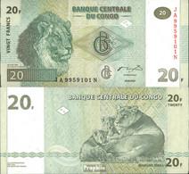 Kongo (Kinshasa) Pick-Nr: 94A Bankfrisch 2003 20 Francs Löwe - Kongo