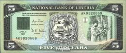 Liberia 20 Bankfrisch 1991 5 Dollars Segelschiff - Liberia