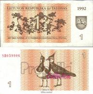 Litauen 39 Bankfrisch 1992 1 Talon - Lithuania