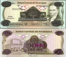 Nicaragua Pick-Nr: 149 Bankfrisch 1987 100.000 Córdobas On 500 Córdobas - Nicaragua