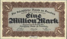 Sachsen SAX19f Länderbanknote Sachsen, KN 6stellig Bankfrisch 1923 1 Million Mark - [ 3] 1918-1933 : Weimar Republic