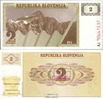 Slowenien Pick-Nr: 2a Bankfrisch 1990 2 Tolarjev - Slowenien