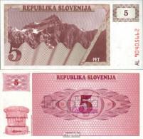 Slowenien Pick-Nr: 3a Bankfrisch 1990 5 Tolarjev - Slowenien