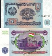 Tadschikistan Pick-Nr: 2a Bankfrisch 1994 5 Rubles - Tadjikistan