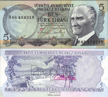 Türkei Pick-Nr: 185 Bankfrisch 1970 5 Lira - Türkei
