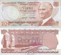 Türkei Pick-Nr: 187a Bankfrisch 1970 20 Lira - Türkei