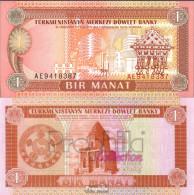 Turkmenistan Pick-Nr: 1 Bankfrisch 1993 1 Manat - Turkménistan