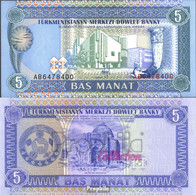 Turkmenistan Pick-Nr: 2 Bankfrisch 1993 5 Manat - Turkménistan