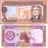 Turkmenistan Pick-Nr: 3 Bankfrisch 1993 10 Manat - Turkménistan